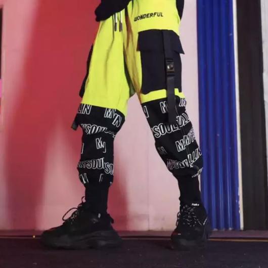 【売り切れ間近】バイカラーストリート風ラフパンツ 2カラー