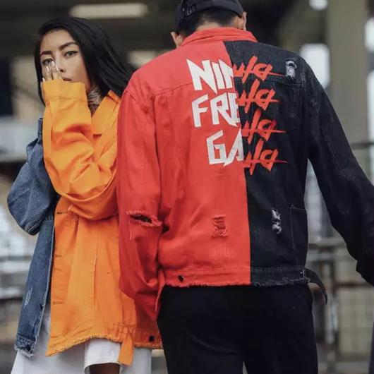 【売り切れ間近】NINデザインバイカラーデニムジャケット 2カラー