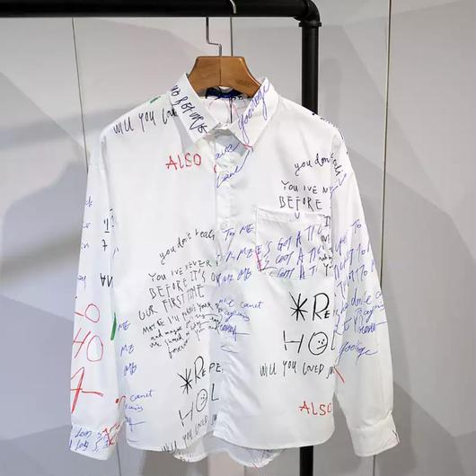 【トレンド】カラフルワードシャツ 2カラー
