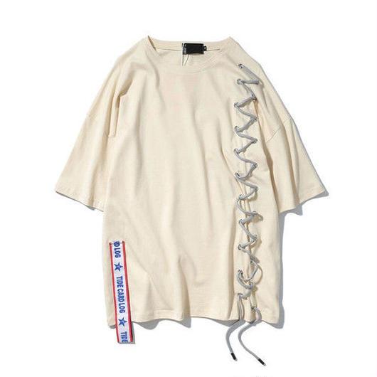 [HOT]クロス紐ベルト付きTシャツ 2カラー