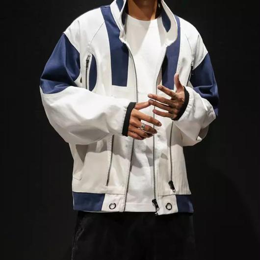 【トレンド】ブルーアクセントデザインジャケット