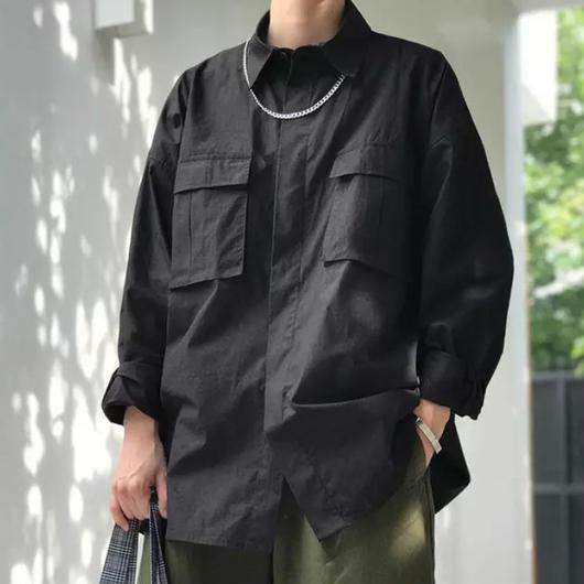 【HOT】ビックサイズポケットシャツ 3カラー