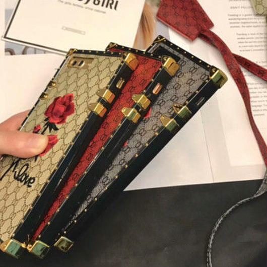 [高級感]ボックスデザイン刺繍アイフォンケース 3カラー 全機種対応