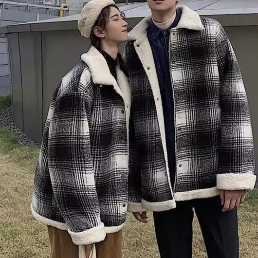 【HOT】チェックウールデザインジャケット 2カラー