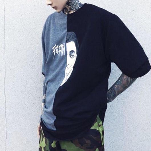 [COOL]ダークカラーバイカラーデザインTシャツ