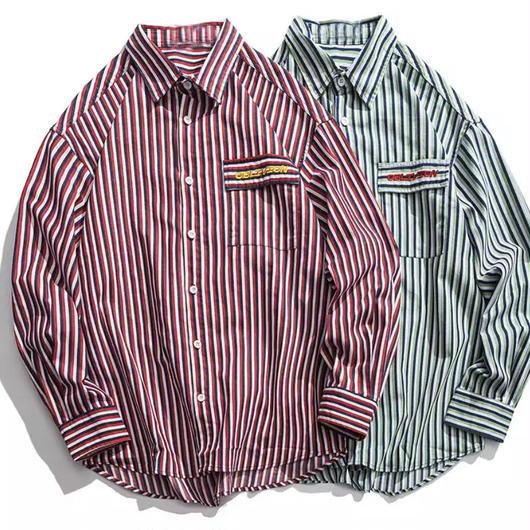 【COOL】カラーボーダー柄シャツ 2カラー