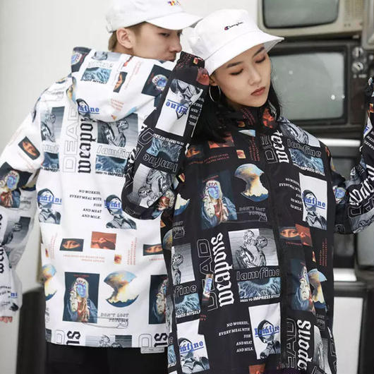 【売り切れ間近】ストリート風アートデザインジャケット 2カラー