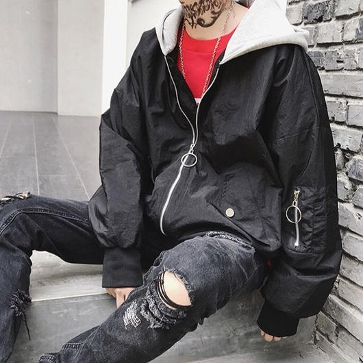 【STREET】ビックサイズフード付きジャケット 3カラー
