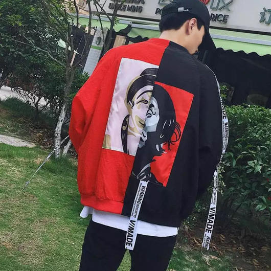 【大人気】ベルト付きピエロデザインジャケット 3カラー