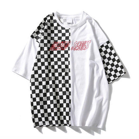 [大人気]モノクロバイカラーTシャツ
