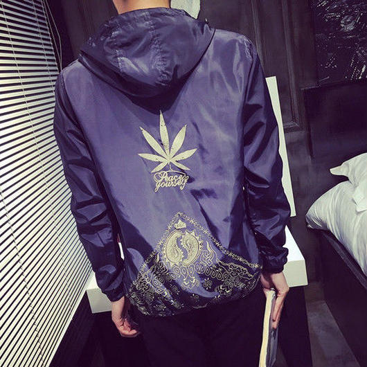 【COOL】葉っぱデザインフードジャケット 2カラー
