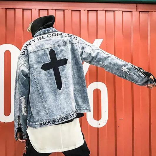 【売り切れ間近】クロスデザインデニムジャケット 2カラー