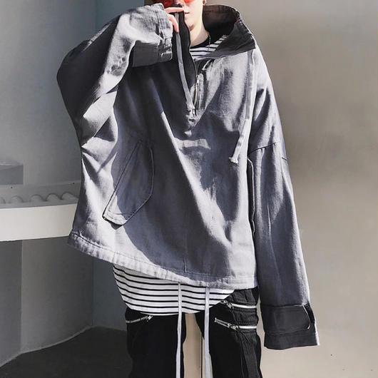 【新入荷】トレーナー風ビックサイズジャケット 2カラー