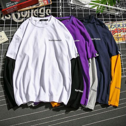 【HOT】二重構造ロングTシャツ 3カラー