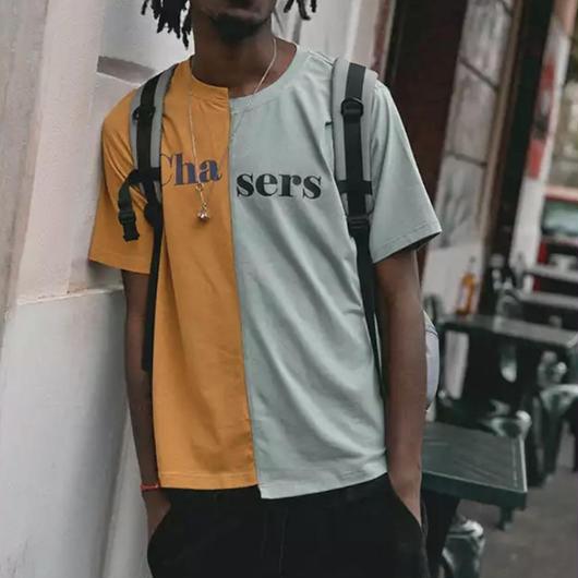 【トレンド】バイカラーChaデザインTシャツ 2カラー
