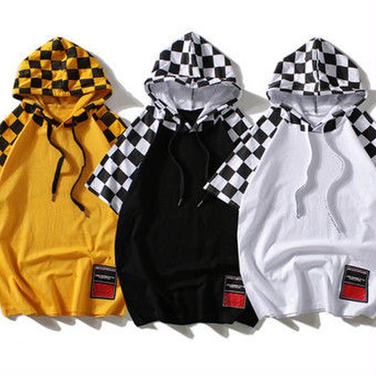 [Street]モノクロフード半袖Tシャツ 3カラー