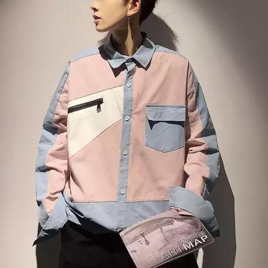 【売れ筋】パネルデザインシャツ 2カラー