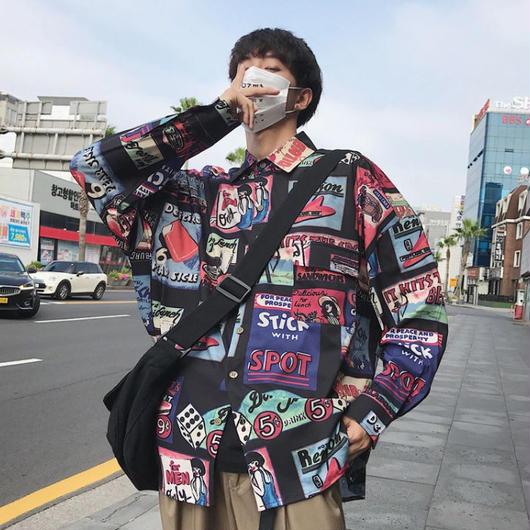 【売れ筋】ポスターデザインロングシャツ