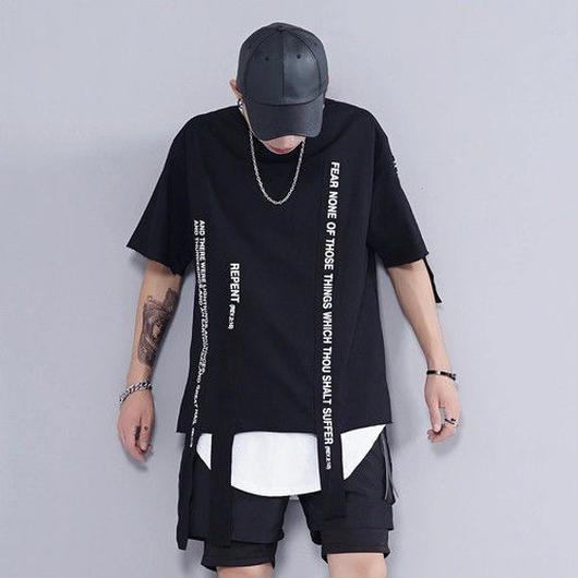 [売り切れ間近]紐付きデザインTシャツ