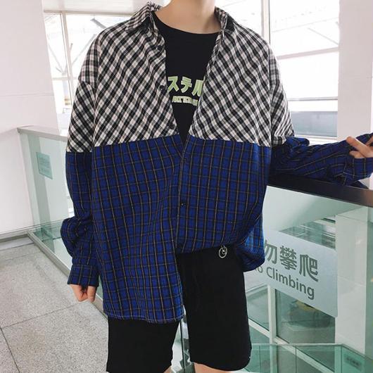 【トレンド】ブルーバイカラーデザインシャツ