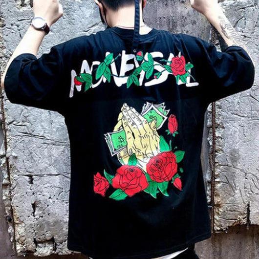 [NEW]ローズハンドデザインビックTシャツ 2カラー