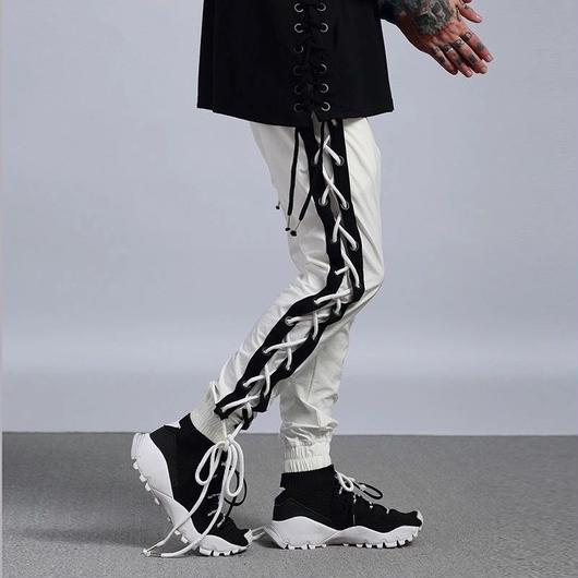 【スタイリッシュ】紐付きデザインラフパンツ 2カラー
