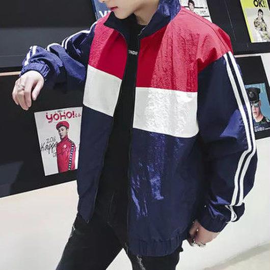 [GOOD]ナイロンバイカラーデザインジャケット 2カラー