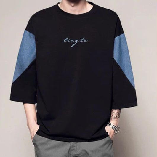 [売れ筋]thigデザイン7部丈Tシャツ 2カラー
