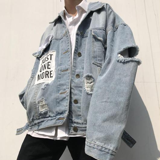 【STREET】JUSTデザインデニムジャケット