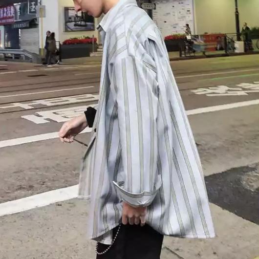 【トレンド】オーバーサイズ縦ボーダーシャツ 2カラー