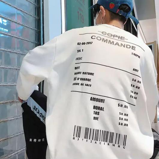 【売れ筋】バーコードデザインロングTシャツ 4カラー