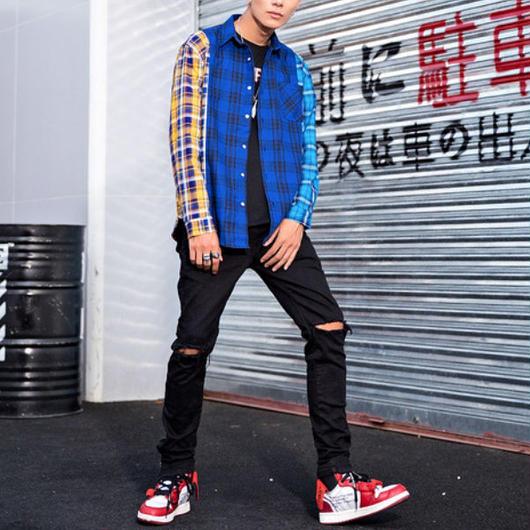 【COOL】ブルー3カラーデザインシャツ