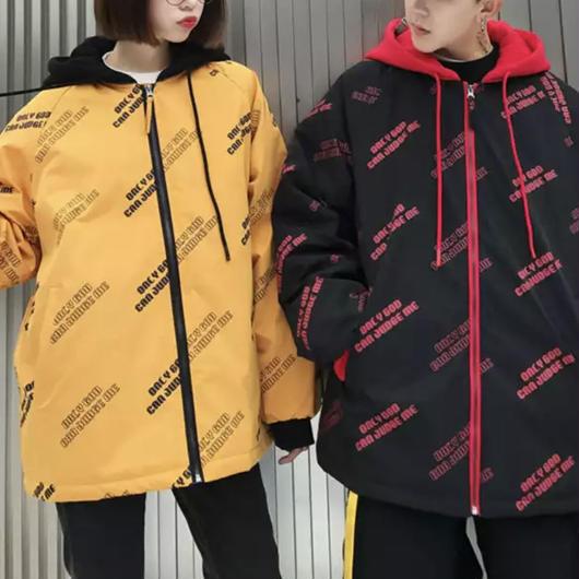 【COOL】ONLY GODデザインフード付きジャケット 2カラー