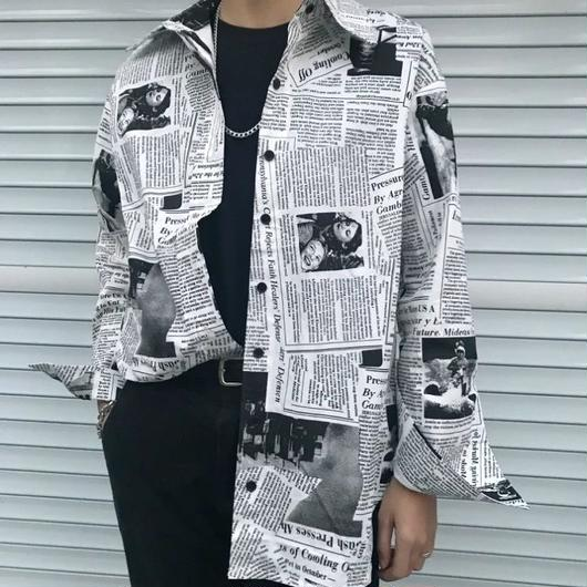 【STREET】NEWSPAPERデザインシャツ