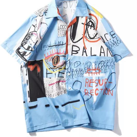 【NEW】ホワイトブルー落書きデザインシャツ