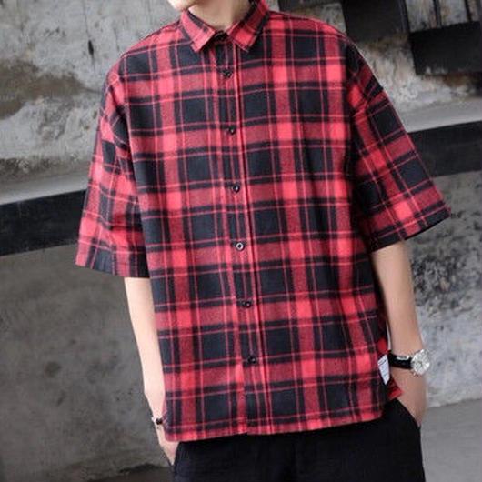 [大人気]チェックビックサイズデザインシャツ 2カラー