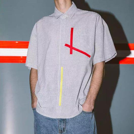 【大人気】カラフルラインボーダーシャツ