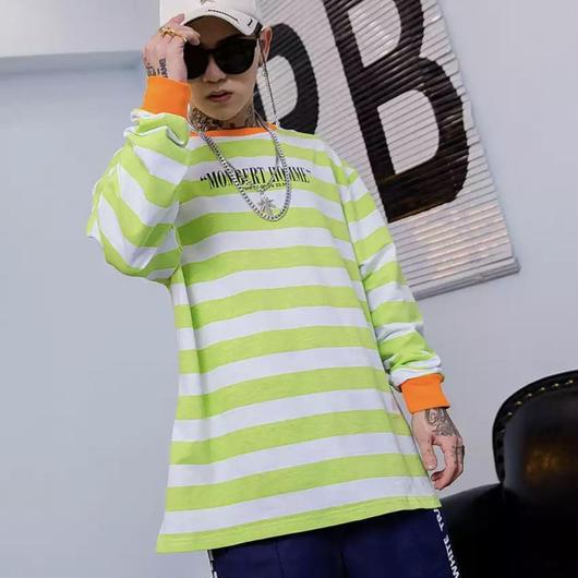 【HOT】カラーボーダーデザインロングTシャツ 2カラー