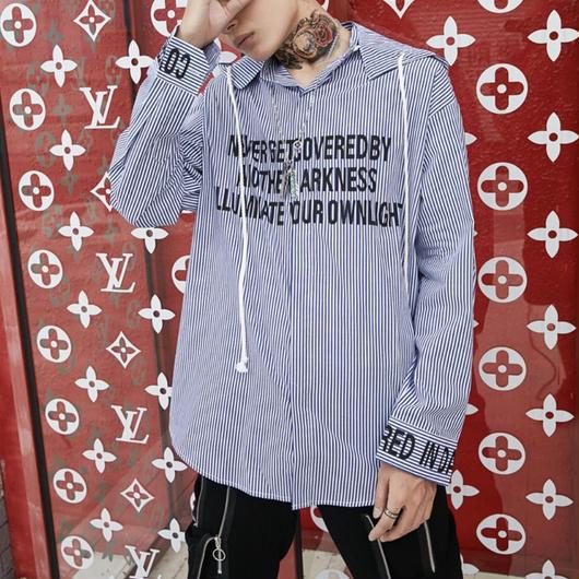 【売り切れ間近】縦ボーダーデザインフードシャツ 3カラー