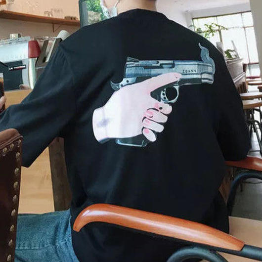 [大人気]ピストルデザインTシャツ 2カラー