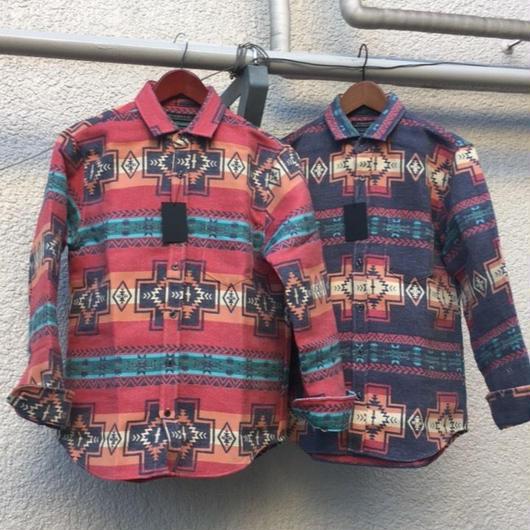 【日本製】OUTAGEネイティブジャガード柄シャツ