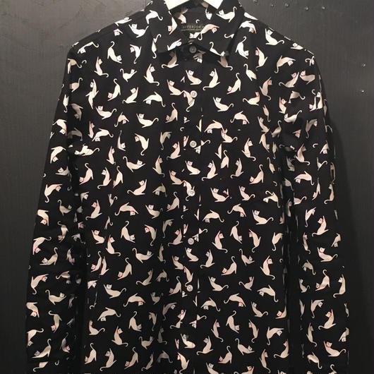 オックスネコ柄プリントシャツ2