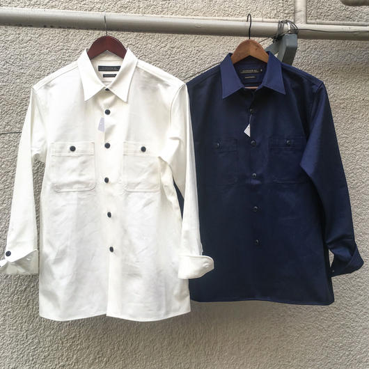 <2018.SS新作>カツラギ無地ワークシャツ