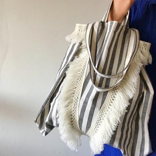 cotton linen stripe bag (black)