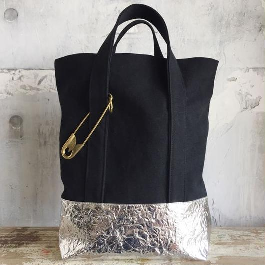 bicolor tote bag (silver)