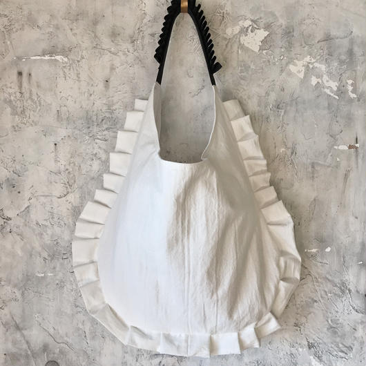 cotton linen frill bag (white)