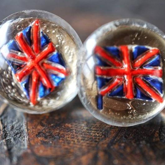 vintage glass pierce (Union Jack)