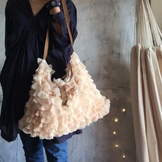 chiffon frill bag (pink beige)