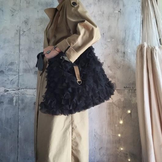 chiffon frill bag (black)