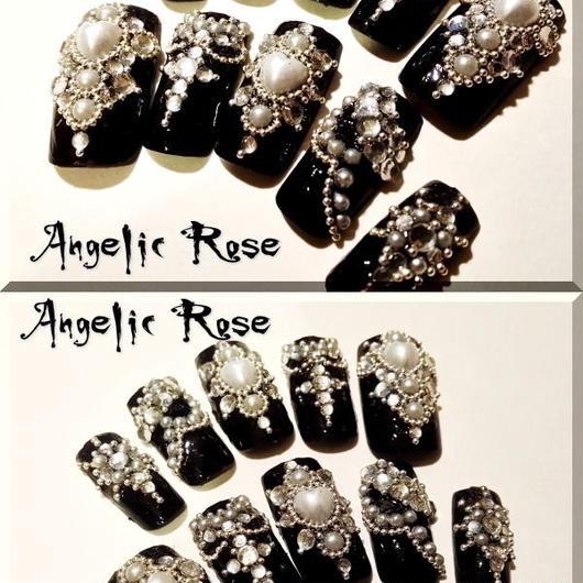暗黒ゴシックネイル【Angelic Rose】No370